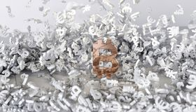 het 3d teruggeven Gouden symbool van bitcoin Royalty-vrije Stock Foto's