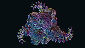 het 3d teruggeven, het groeien bloemen zwarte bloemen als achtergrond, bloeiend botanisch patroon, de stijl van het nachtneon, br vector illustratie