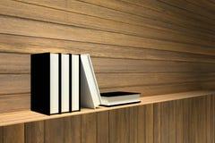 het 3D teruggeven: Illustratie van boeken op houten plank of houten bar tegen houten muur Royalty-vrije Stock Fotografie