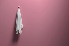 het 3D teruggeven: illustratie van een stuk van het schone en witte handdoek hangen op een roze pastelkleurmuur, een licht en een Stock Afbeeldingen