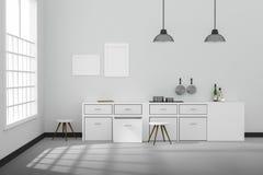 het 3D teruggeven: illustratie van het Witte binnenlandse moderne ontwerp van de keukenruimte met het uitstekende lamp twee hange Stock Afbeelding