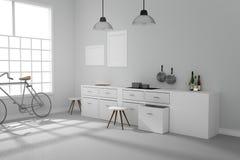 het 3D teruggeven: illustratie van het Witte binnenlandse moderne ontwerp van de keukenruimte met het uitstekende lamp twee hange Stock Foto