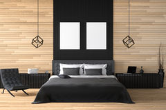 het 3D teruggeven: illustratie van modern blokhuisbinnenland een deel van de bedruimte van huis Ruime slaapkamer in houten stijl Stock Afbeeldingen