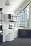 het 3D Teruggeven: illustratie van moderne binnenlandse keukenruimte een keukendeel van huis zwart-witte plank Spot omhoog Glanze Stock Foto's