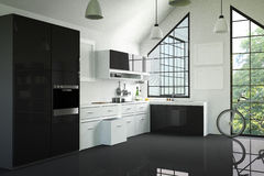 het 3D Teruggeven: illustratie van moderne binnenlandse keukenruimte een keukendeel van huis zwart-witte plank Spot omhoog Glanze Royalty-vrije Stock Afbeeldingen