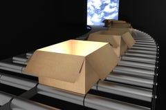 het 3d teruggeven: illustratie van Perspectiefmening van Kartondozen op Transportband van staal Open doos Een deel van Pakhuis Stock Foto's