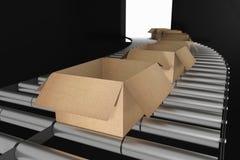 het 3d teruggeven: illustratie van Perspectiefmening van Kartondozen op Transportband van staal Open doos Een deel van Pakhuis Stock Foto