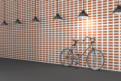 het 3D teruggeven: illustratie van retro fiets en het uitstekende lamp hangen op het dak tegen van de rode bakstenen muur Achterg Stock Foto