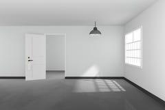 het 3D teruggeven: illustratie van Wit binnenlands leeg woonkamerontwerp met het uitstekende lamp hangen glanzende grijze vloer A Stock Afbeelding