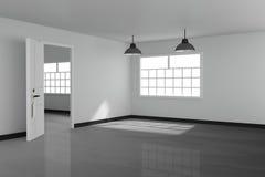 het 3D teruggeven: illustratie van Wit binnenlands leeg woonkamerontwerp met het uitstekende lamp twee hangen glanzende grijze vl Royalty-vrije Stock Afbeeldingen