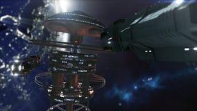 het 3d teruggeven Krachtig ruimtestation en een scifiruimteschip Royalty-vrije Stock Foto