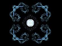 het 3D teruggeven met blauw abstract fractal patroon Stock Foto's