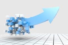 het 3d teruggeven, 3d model van pijl, het concept ontwikkeling en richting royalty-vrije illustratie