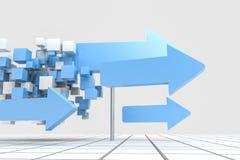 het 3d teruggeven, 3d model van pijl, het concept ontwikkeling en richting vector illustratie