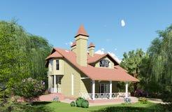 het 3d teruggeven Plattelandshuisjes van gele bakstenen royalty-vrije illustratie
