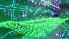 Het 3d teruggeven sc.i-FI van het enige groene 3d teruggeven sc.i-FI van futuristische vormen en patronen die in midair met neonl royalty-vrije illustratie
