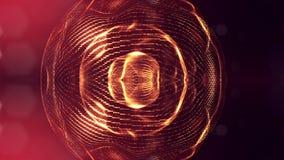 het 3d teruggeven, science fictionachtergrond van gloeiende deeltjes met diepte van gebied en bokeh De lijn van de deeltjesvorm e Royalty-vrije Stock Foto