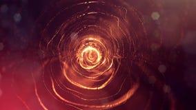 het 3d teruggeven, science fictionachtergrond van gloeiende deeltjes met diepte van gebied en bokeh De lijn van de deeltjesvorm e Stock Foto's