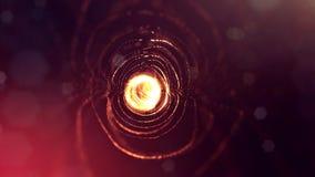het 3d teruggeven, science fictionachtergrond van gloeiende deeltjes met diepte van gebied en bokeh De lijn van de deeltjesvorm e Royalty-vrije Stock Fotografie