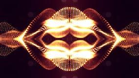 het 3d teruggeven, science fictionachtergrond van gloeiende deeltjes met diepte van gebied en bokeh De lijn van de deeltjesvorm e Stock Afbeelding