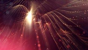 het 3d teruggeven, science fictionachtergrond van gloeiende deeltjes met diepte van gebied en bokeh De lijn van de deeltjesvorm e Royalty-vrije Stock Afbeeldingen