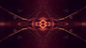 het 3d teruggeven, science fictionachtergrond van gloeiende deeltjes met diepte van gebied en bokeh De lijn van de deeltjesvorm e Royalty-vrije Stock Afbeelding
