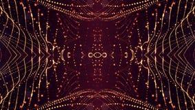 het 3d teruggeven, science fictionachtergrond van gloeiende deeltjes met diepte van gebied en bokeh De lijn van de deeltjesvorm e Stock Fotografie