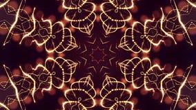 het 3d teruggeven, science fictionachtergrond van gloeiende deeltjes met diepte van gebied en bokeh De lijn van de deeltjesvorm e Stock Foto