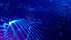 het 3d teruggeven, science fictionachtergrond van gloeiende deeltjes met diepte van gebied en bokeh De lijn van de deeltjesvorm e Stock Afbeeldingen