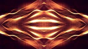 het 3d teruggeven, science fictionachtergrond van gloeiende deeltjes met diepte van gebied en bokeh De lijn van de deeltjesvorm e Royalty-vrije Stock Foto's