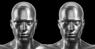 het 3d teruggeven Twee zilveren gefacetteerde androïde hoofden die voor op camera kijken Stock Afbeeldingen