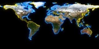 het 3d teruggeven van aarde U kunt continenten, steden zien Elementen van dit die beeld door NASA wordt geleverd Stock Afbeelding