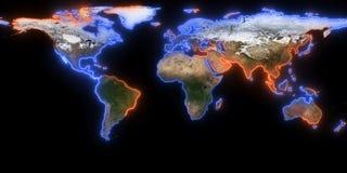 het 3d teruggeven van aarde U kunt continenten, steden zien Elementen van dit die beeld door NASA wordt geleverd Stock Foto's