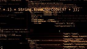 het 3D teruggeven van abstracte die blokken van code in de virtuele ruimte worden gevestigd Stock Foto
