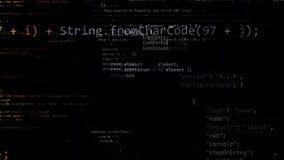 het 3D teruggeven van abstracte die blokken van code in de virtuele ruimte worden gevestigd Stock Afbeelding