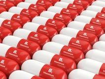 het 3d teruggeven van B2 vitaminepillen Royalty-vrije Stock Foto
