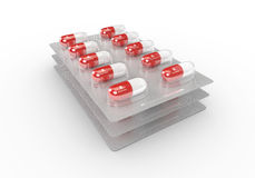het 3d teruggeven van B2 vitaminepillen in blaarpak Stock Fotografie