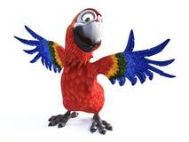 het 3D teruggeven van beeldverhaalpapegaai die en zijn vleugels glimlachen aanbieden Royalty-vrije Stock Afbeelding