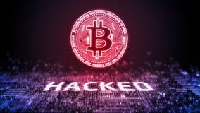 het 3D Teruggeven van bitcoin BTC die over digitale binaire achtergrond wordt binnendrongen in een beveiligd computersysteem Cryp stock afbeeldingen