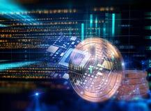 het 3d teruggeven van Bitcoin op technologieachtergrond Stock Foto's