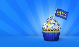 het 3D Teruggeven van Blauwe Cupcake, Gele Strepen rond Cupcake Stock Afbeelding