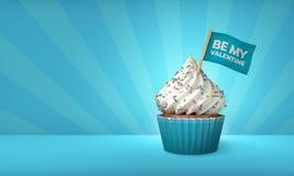 het 3D Teruggeven van Blauwe Cupcake, Zilveren Stroken rond Cupcake Royalty-vrije Stock Afbeelding