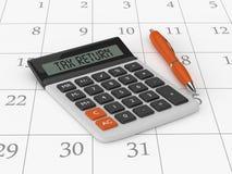 het 3d teruggeven van calculator met belastingaangiftetekst Royalty-vrije Stock Afbeelding