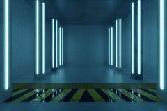 het 3d teruggeven van concrete ruimte met pijlers en blauwe lichte panelen Stock Foto