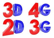 het 3D Teruggeven van 3D, 2D, 4G, 3G tekst op witte achtergrond Stock Afbeelding