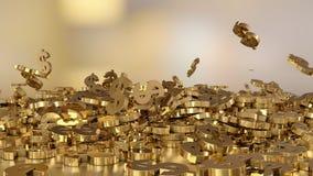 het 3d teruggeven van dalende tekens van dollars Royalty-vrije Stock Foto's