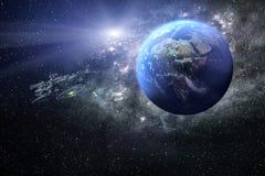 het 3D teruggeven van de aarde met een ruimteschip in het heelal vector illustratie