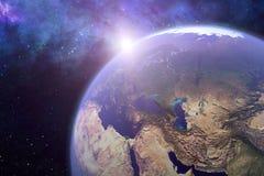 het 3d teruggeven van de aarde met een zonbezinning vector illustratie
