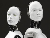 het 3D teruggeven van de hoofden van een vrouwelijke en mannelijke robot Royalty-vrije Stock Fotografie