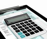 het 3d teruggeven van de individuele vorm en de calculator van de inkomensbelastingaangifte Royalty-vrije Stock Fotografie